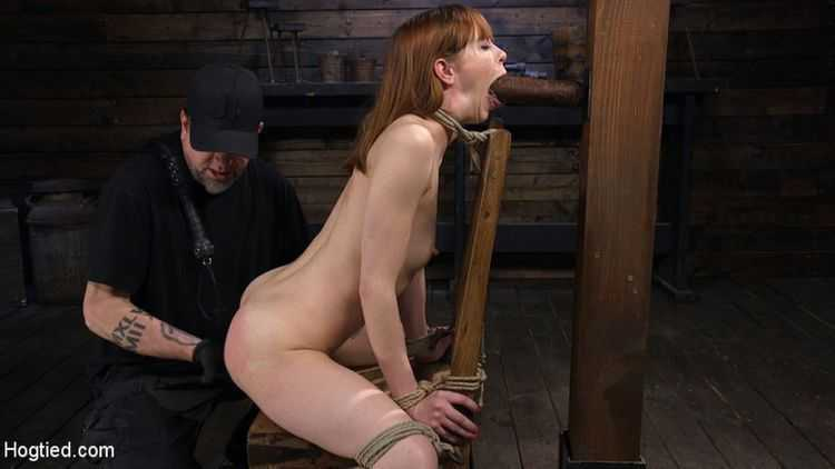 Red Headed Rope Slut Gets Brutalized and Made to Cum