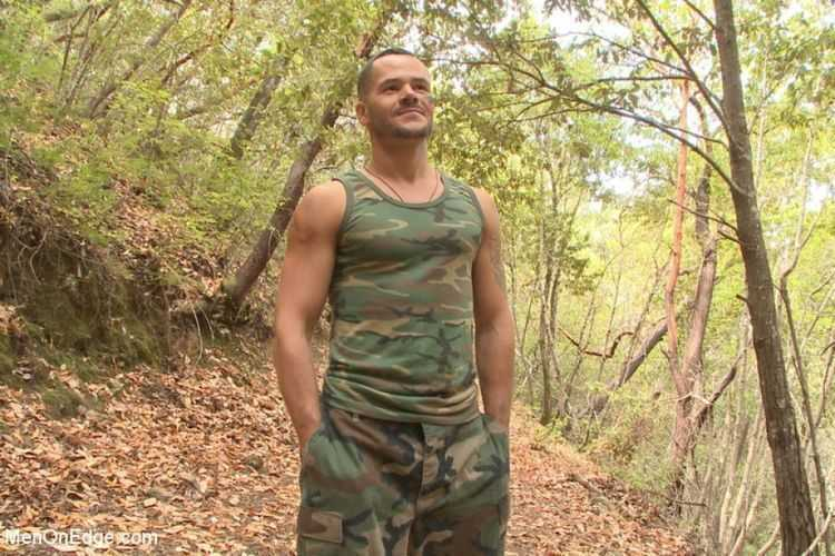 Russian soldier captured and edged deep in the woods