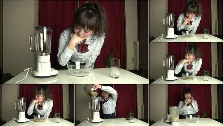 UNKW-021 | Amo Kusakari puking in a glass bowl, making herself a vomit cocktail and drinking it.